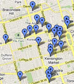 Map of 2010 Toronto Fringe Festival Venues