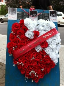 Dorothy Parker memorial outside Tarragon Theatre