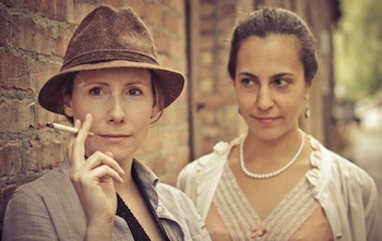 Margaret Evans (l) Plays Jim Watts, Aviva Armour-Ostroff (r) plays Dorothy Livesay in Jesus Chrysler ~ Photo by Will O'Hare