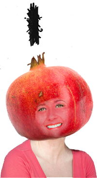 "Dawna J. Wightman, as a Pomegranate, from her play ""Life as a Pomegranate"""