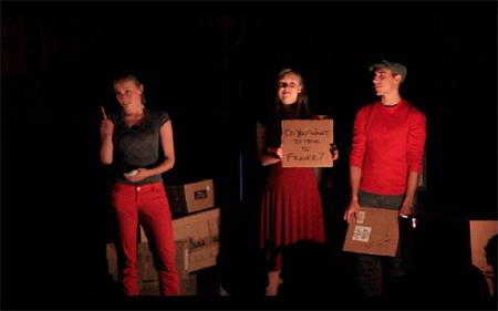 If One Night Actors: Katherine Cullen, Evan Harkai, Chloe Sullivan
