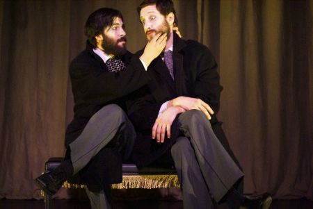 Adam Paolozza and Viktor Lukawski onstage at Toronto's Tarragon Theatre in The Double,