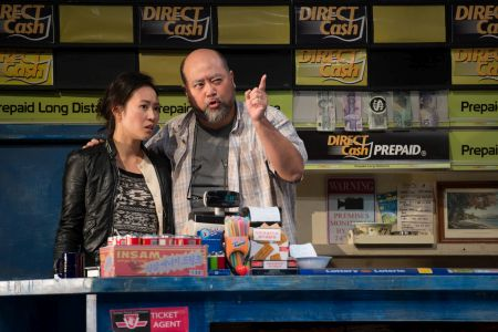 Chantelle Han and Paul Sun-Hyung Lee in Kim's Convenience