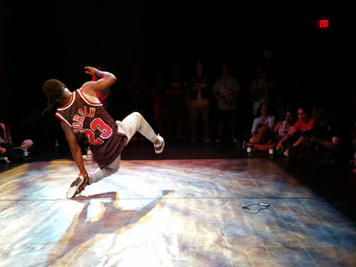 Photo of breakdancer mid-dance from Battle for the North as part of Panamania.