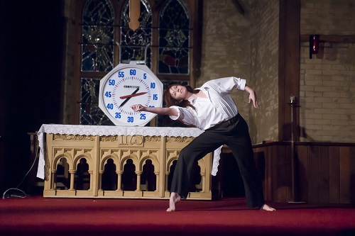 Photo of dancer Julie Grant in rad 60x60, 2010