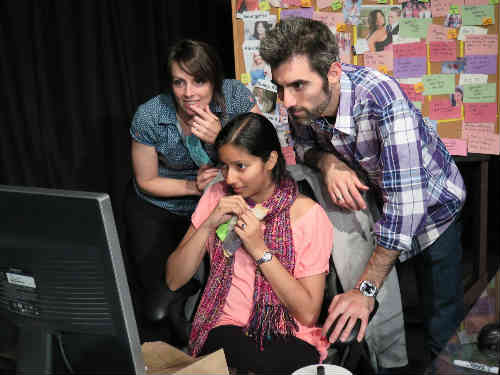 Cut at The Storefront Theatre Toronto. From L to R: Laura Salvas, Seema Lakhani, Hartley Jafine. Photo by Tina McCulloch
