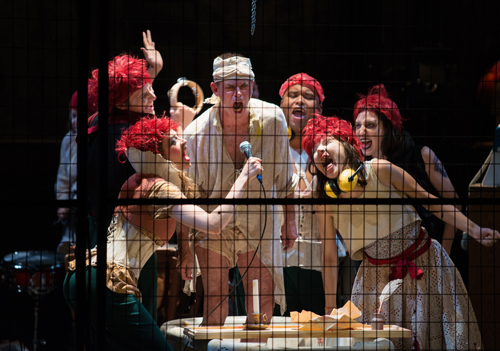 Photo of Stuart Hughes and the Marat/Sade ensemble taken by Cylla von Tiedemann
