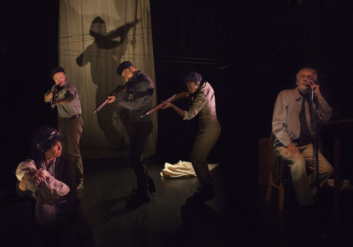 Photo left to right: Maxine Heppner, Christopher Stanton, Tom Arthur-Davis, Virgilia Griffiths, and Stephen Bush in They Say He Fell. Photo Credit: John Lauener