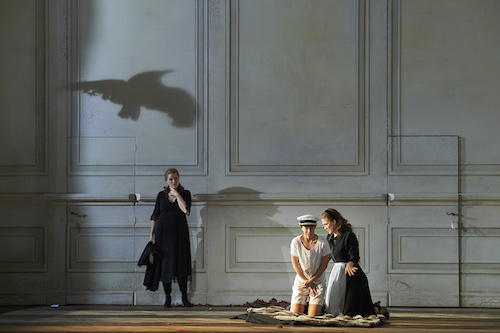 (l-r) Erin Wall as the Countess, Emily Fons as Cherubino and Jane Archibald as Susanna in the Canadian Opera Company's production of The Marriage of Figaro, 2016. Conductor Johannes Debus, director Claus Guth, set and costume designer Christian Schmidt, lighting designer Olaf Winter, video designer Andi A. Müller, and choreographer Ramses Sigl. Photo: Michael Cooper