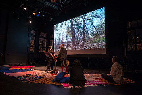 Photo of Ursula Johnson and Cheryl L'Hirondelle in Monomyths, stage 1