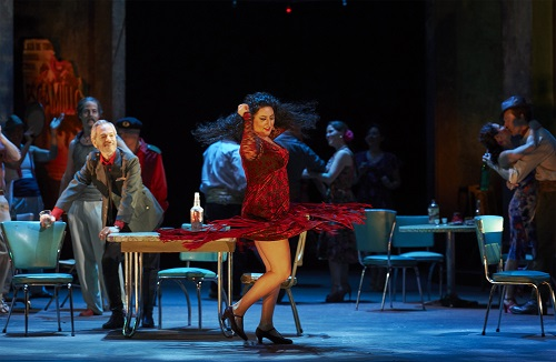 Anita Rachvelishvili as Carmen (centre) as Alain Coulombe as Zuniga looks on (at left) in the Canadian Opera Company production of Carmen, 2016. Conductor Paolo Carignani, director Joel Ivany, set designer Michael Yeargan, costume designer François St-Aubin, lighting designer Jason Hand, and set & costume design co-ordinator Camellia Koo. Photo: Michael Cooper