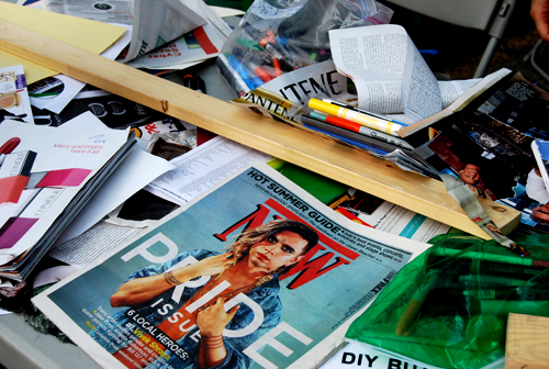 photo of NOW magazine and assorted craft supplies