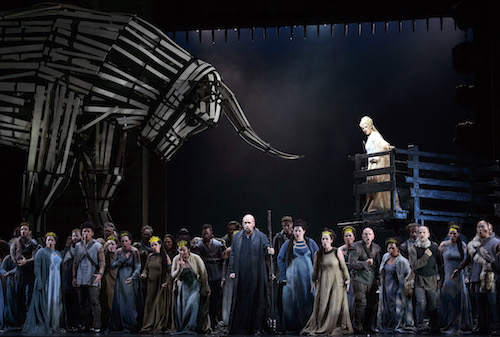 233 – Dimitry Ivashchenko as Oroveso (centre) and Sondra Radvanovksy as Norma (on platform) in the Canadian Opera Company production of Norma, 2016. Conductor Stephen Lord, director Kevin Newbury, set designer David Korins, costume designer Jessica Jahn, and lighting designer Duane Schuler, photo: Chris Hutcheson