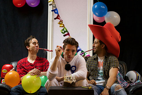 Photo of Chase Jeffels, Evan Mackenzie, and Mike Ricci in Happy Birthday Benjamin Holloway