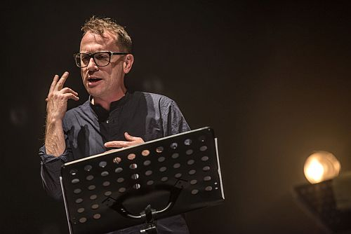 Photo of Torquil Campbell in True Crime, Crows Theatre, January 2018