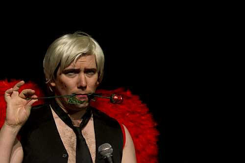 Photo of Adam Bailey in The ABCs of Love with Adult Baby Cupid at the 2018 Toronto Fringe