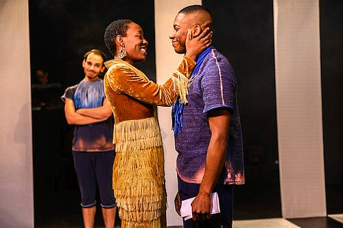 Photo of Virgilia Griffith, Thomas Olajide, and Augusto Bitter in Iphigenia and The Furies