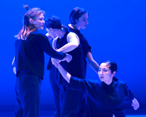 Photo of Kate Holden, Sarah Neufeld, Mairi Grieg, and Sahara Morimoto in who we are in the dark