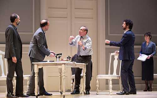 Omar Alex Khan, Sanjay Talwar, Alex Poch-Goldin, Jonas Chernick & Marla McLeanin the Studio 180 Theatre production of OSLO