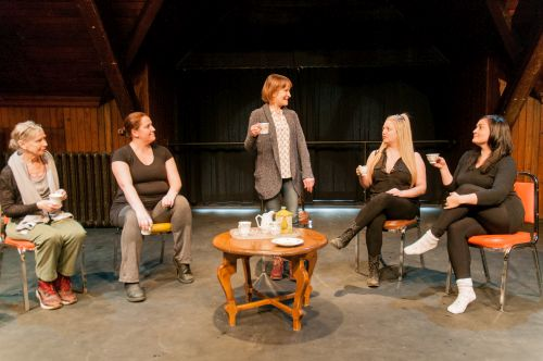Photo of Nance Gibson, Shannon Dickens, Nancy Stewart, Carley Churchill, and Natalie Julien in The Reading Circle