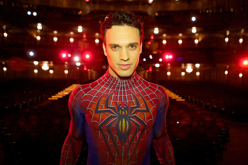 photo of Jake Epstein as Spider-Man in Boy Falls From the Sky Photo by Jacob Cohl