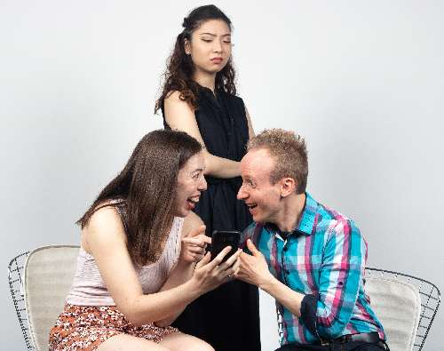 Photo of Sachi Lovatt, Mei Miyazawa, Cory Bertrand in DECAYING TONGUE. Photo by Leo Montero