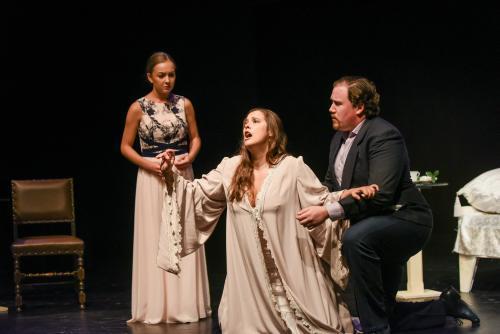 Photo of Anna Wojcik as Annina, Cristine Pisani as Violetta and Joshua Clemenger as Alfredo in La Traviata