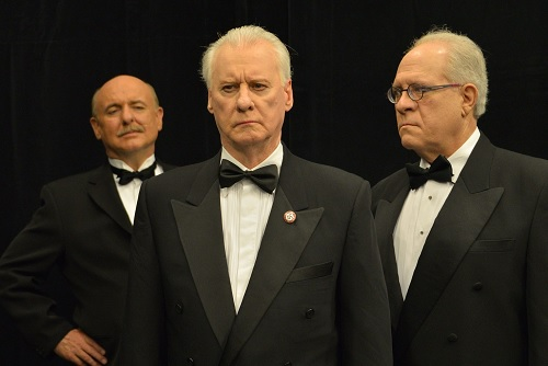 Cast of Dinner with Goebbels. Cast: Randall Moore (Bernays), Kevin McLellan(Goebbels), Saul Kaufman (Rove) Photographer: Rick Sutton