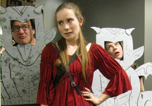 Photo of Cast L-R: Damien Gulde, Grace Munro, and Amy Slattery in Sketchy Adventures in the Enchanted Forest. Photo by Jon Chaters.