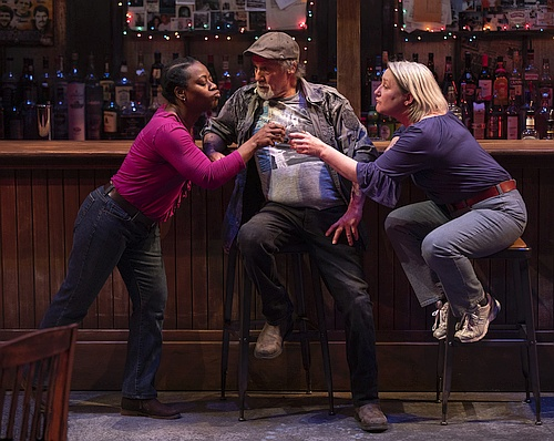 Photo of Ordena Stephens-Thompson, Ron Lea, Kelli Fox - three people toasting in front of a bar sitting on bar stools
