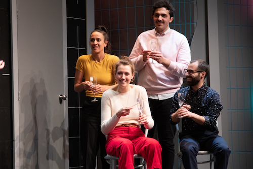 Photo of Jillian Welsh, Hannah Spear, Andy Assaf and Matt Folliott in The Second City Totally Likes You by Paul Aishoshi