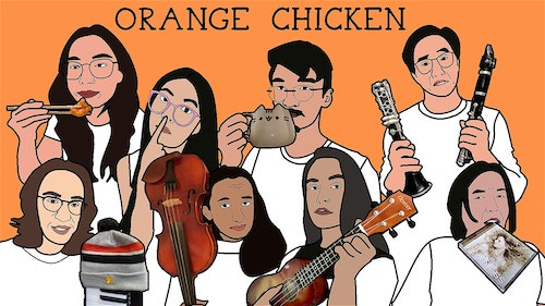 Poster of Orange Chicken cast in cartoon form provided by the company