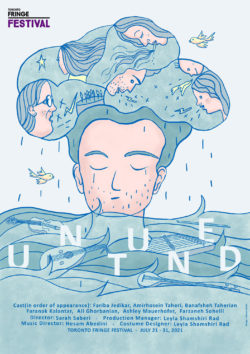Promotional Poster for UnTuned. Cartoon image of a man with his eyes closed and a raincloud filled with women talking above his head.