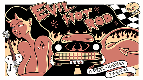 Illustration of devil woman and car from Evil Hot Rod